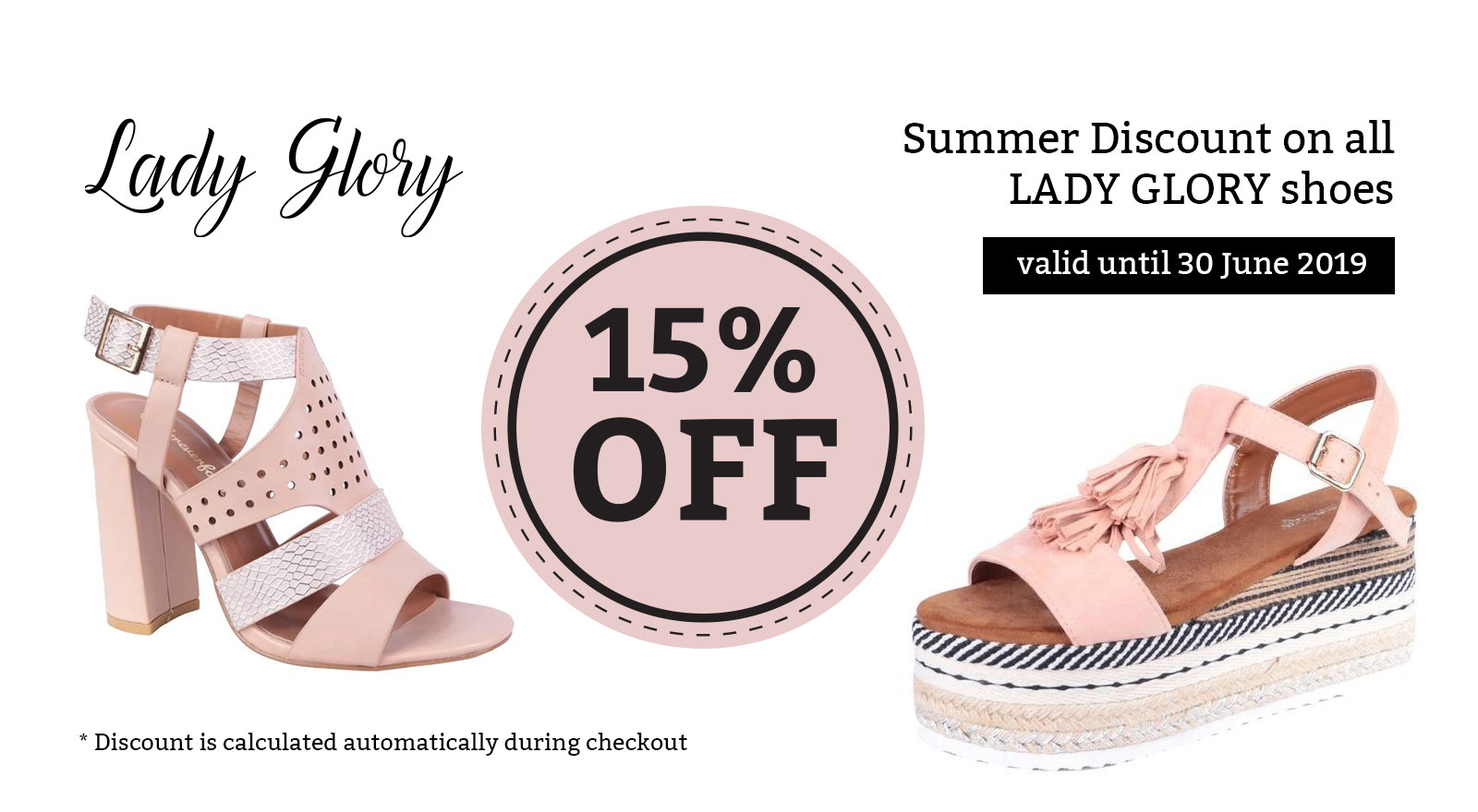 15% discount on Lady Glory shoes